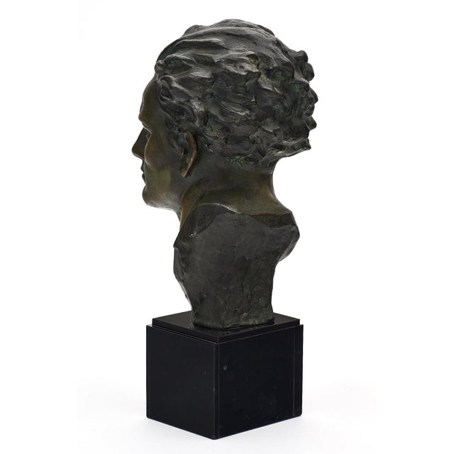 Metal Art Deco Spelter Bust of Jean-Mermoz Sculpture For Sale - Image 7 of 10