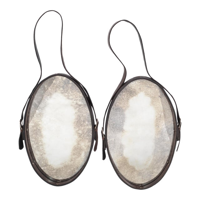 Jacques Adnet Style 1950s Hand-Crafted Brown Leather & Antique Glass Wall Mirror - a Pair For Sale