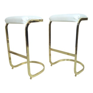 Pair of Brass Frame Stools For Sale