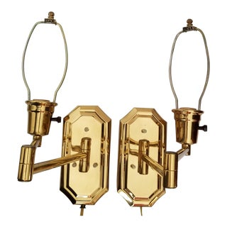 20th Century Scandinavian Brass Electric Sconces - a Pair For Sale