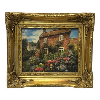 Garden by Brick Cottage Framed Oil Painting For Sale