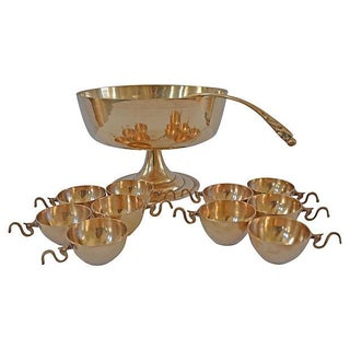 Brass Dragon Punchbowl & Cups - 12 Pcs