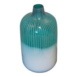 Vintage Aqua Blue Milk White Vertical Striped Opalescent Art Blown Glass Vase For Sale