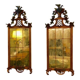 Louis XVI 19th Century Wall Console / Peir Mirrors, Carved and Painted - a Pair
