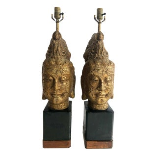 Mid-Century Modern Original Pair of James Mont Buddha Head Lamps For Sale