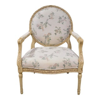 Vintage Ornate Country French Style Floral Linen Fabric Accent Chair