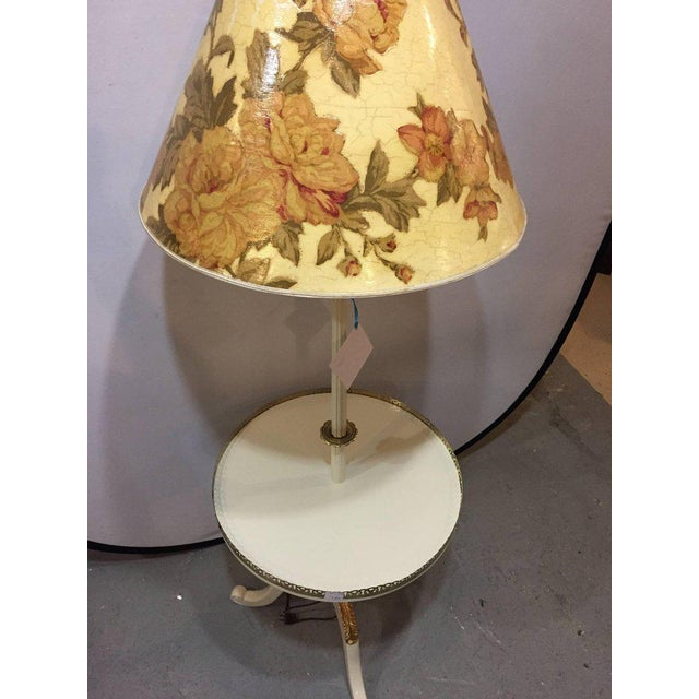 Off-White and Gilt Gold Paint Decorated Floor Lamp with Tray Table and Custom Shade For Sale - Image 10 of 10