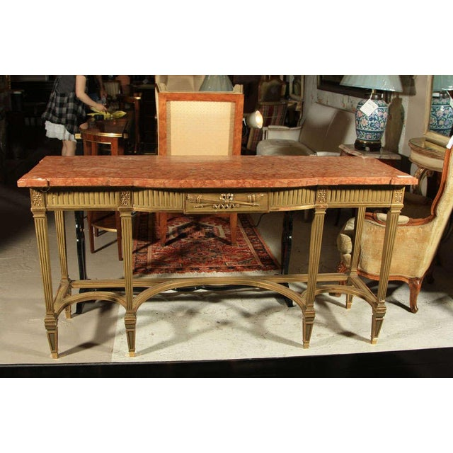 French Maison Jansen Coral Marble Top Console For Sale - Image 3 of 8