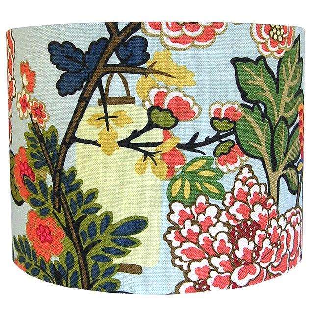 Asian Custom Aqua Floral Lantern Drum Lamp Shade For Sale - Image 3 of 5