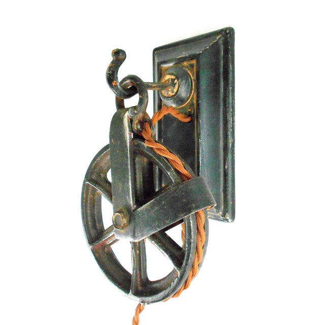 Industrial Factory Wheel Wall Sconce - Image 4 of 9