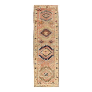 Coral Colored Vintage Oushak Runner With Geometric Medallions For Sale