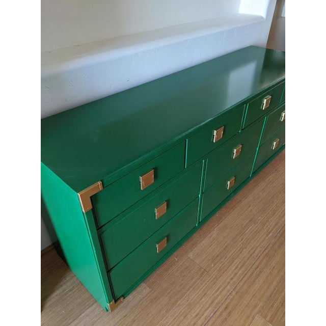 Thomasville 1970s Thomasville Campaign Gloss Green Dresser Credenza For Sale - Image 4 of 9