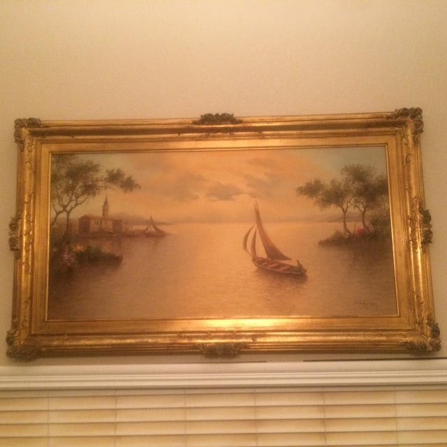 Nautical 1980s Mario Rossi Serene Sailboat Oil on Canvas Painting For Sale - Image 3 of 8