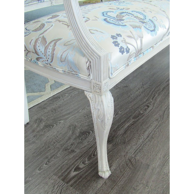 Floral Upholstered French Settee & Arm Accent Chair For Sale In West Palm - Image 6 of 8
