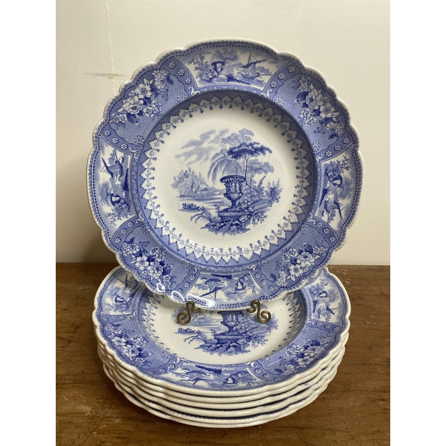 Antique Staffordshire Blue and White Soup Bowls/Plates - Set of 7 For Sale - Image 9 of 9