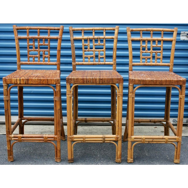 Rattan Wicker McGuire-Style Fretwork Bar Stools - Set of 3 - Image 2 of 11