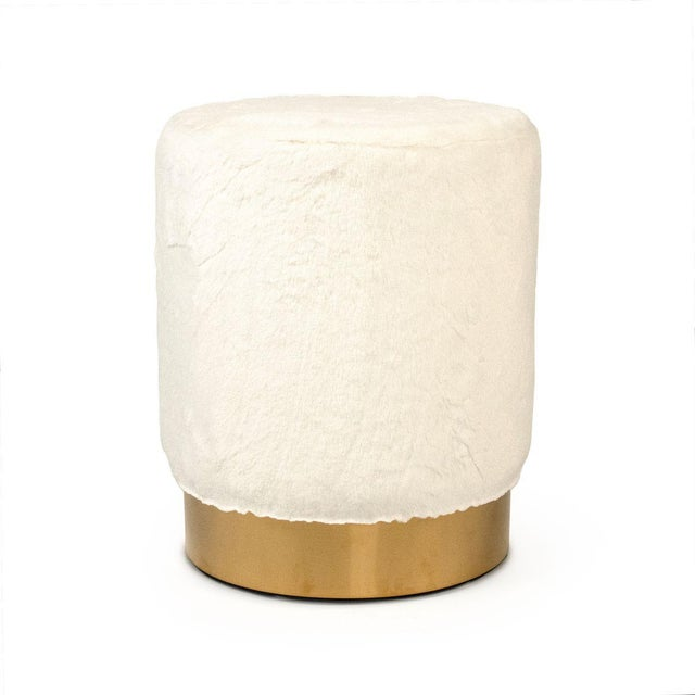 2020s Carnegie White Faux Fur Stool in White For Sale - Image 5 of 5