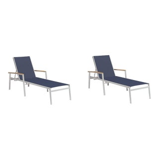 Outdoor Sling Chaise Lounge, Natural and Dark Blue (Set of 2) For Sale