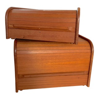 Vintage CD & Cassette Storage Filing Teak Wood Box Roll Top Tambour Door MCM Danish Style - Set of 2 For Sale