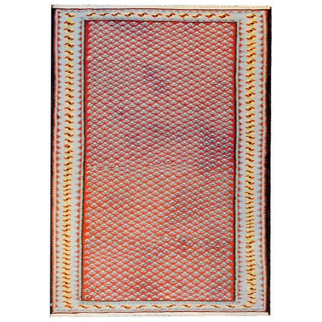 Red Midcentury Senneh Kilim Rug For Sale - Image 8 of 8