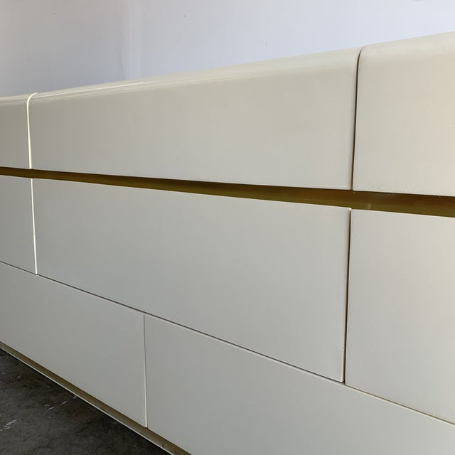 Mid-Century Modern 1980s Lacquer and Brass Dresser For Sale - Image 3 of 12