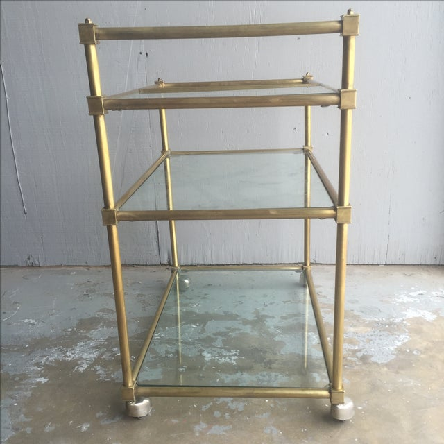 Vintage Mid Century Brass Bar Cart - Image 3 of 6