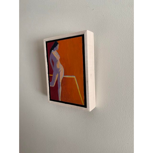 Contemporary Minimalist Figurative Orange Oil Painting, Framed For Sale - Image 4 of 4