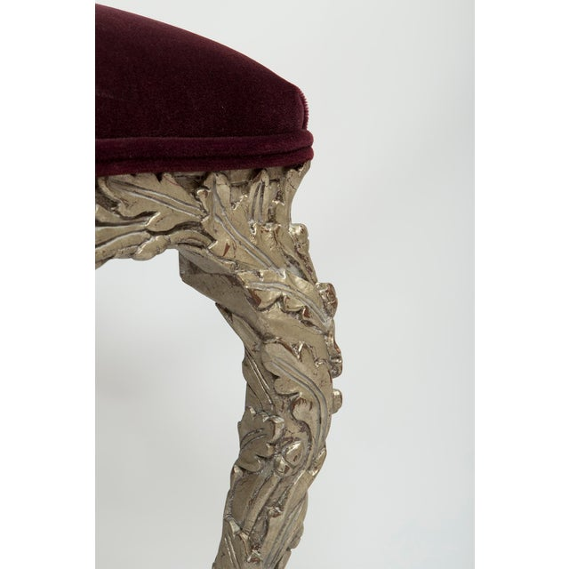 20th Century Traditional Wood Carved Silver Gilt Painted Stools - a Pair For Sale - Image 4 of 13