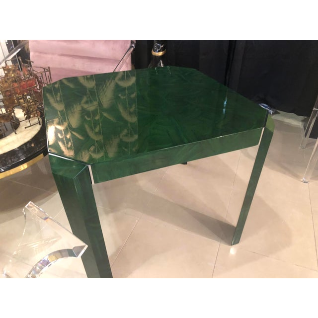 Vintage Hollywood Regency Green Faux Malachite Chrome Dining Game Table For Sale - Image 10 of 11