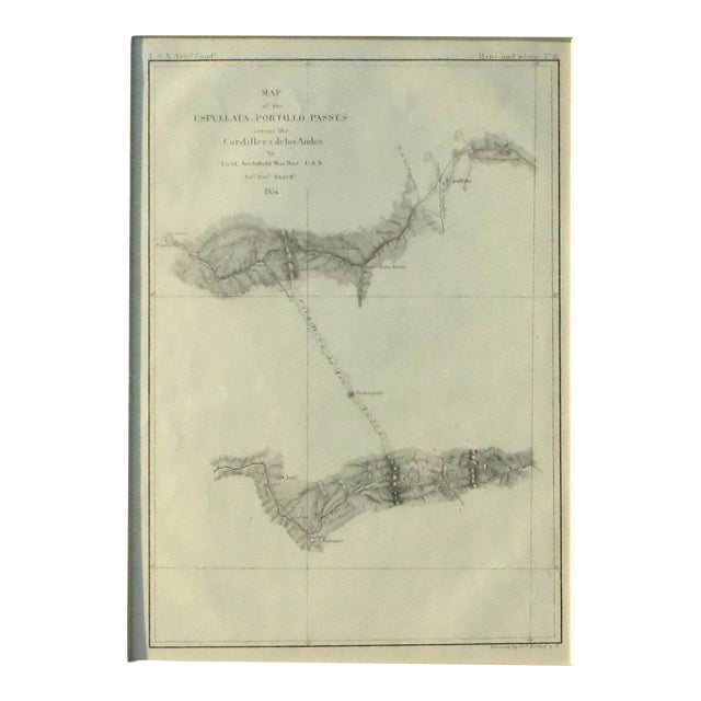 White Santiago, Chili Uspullata & Portillo Passes, 1855 Map For Sale - Image 8 of 8