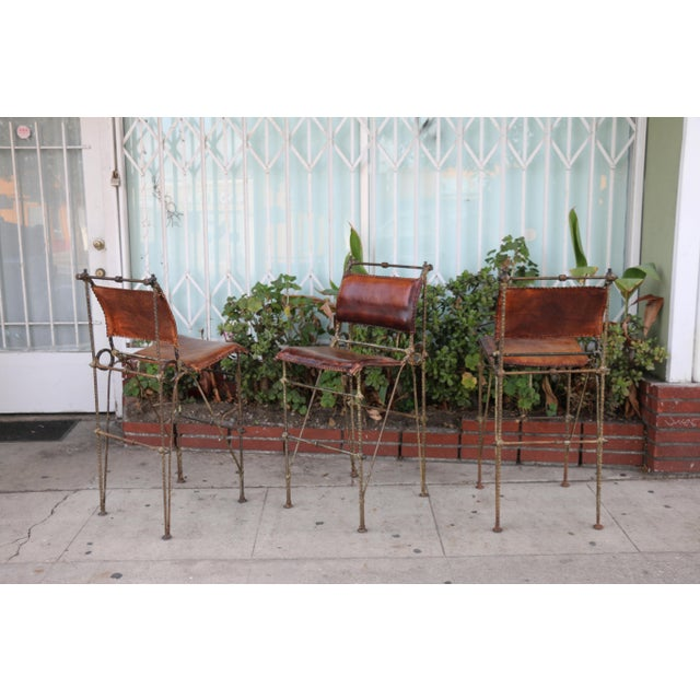 Metal 1970s Vintage Leather and Metal High Barstools- Set of 3 For Sale - Image 7 of 13