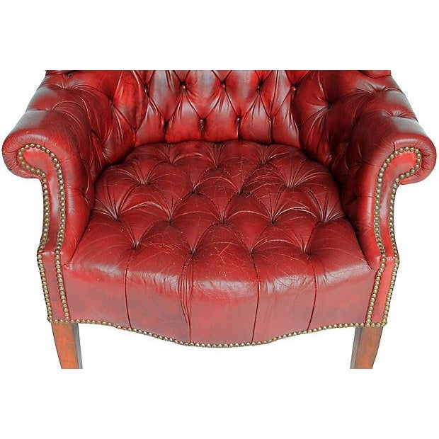 Tufted Leather Wingback Chair - Image 5 of 8