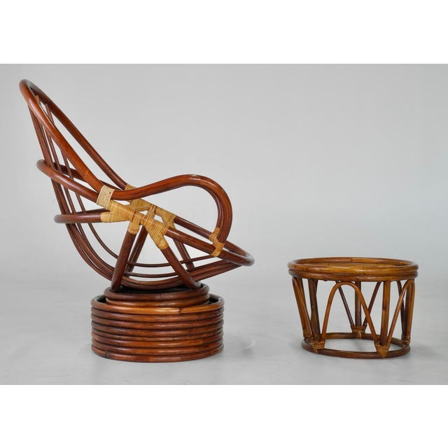 Mid-Century Swivel Rattan Bamboo Pod Chair & Ottoman - Image 2 of 6