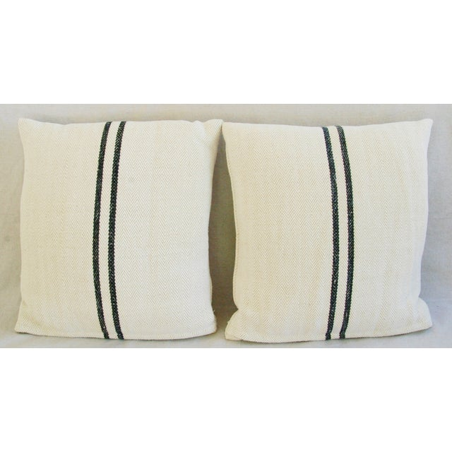French Grain Sack Down & Feather Pillows - Pair - Image 5 of 10