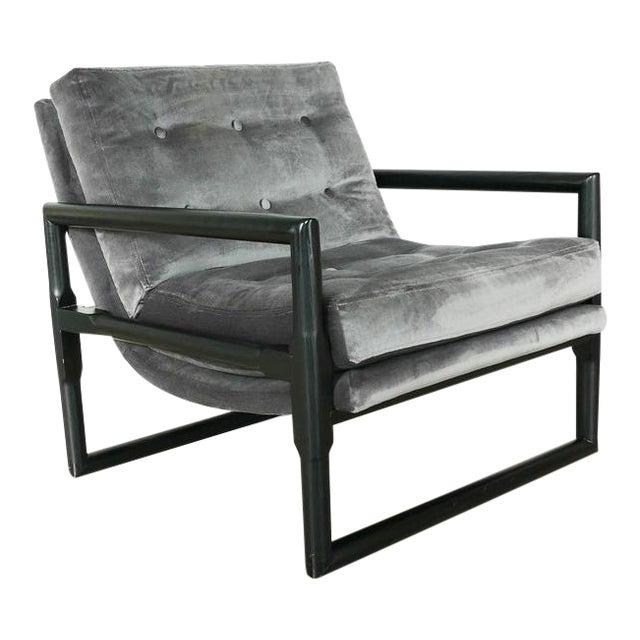 "Grey Mohair Milo Baughman ""Cube"" Side Chair For Sale"