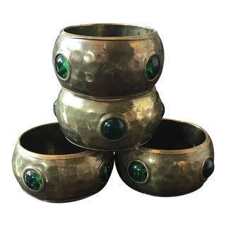 Vintage Jeweled Hammered Brass Napkin Rings - Set of 4 For Sale