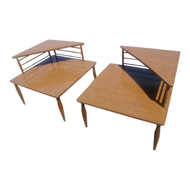 1960's Danish Modern Baumritter Corner End Side Tables- a Pair For Sale