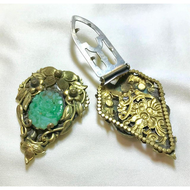 1930s 1930s Goldtone Floral Dress Clips Set With Molded Jade Green Glass - a Pair For Sale - Image 5 of 6