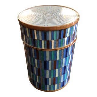 1980s Brutalist Fabienne Jouvin Paris Modern Geometric Copper & Cloisonné Jar For Sale