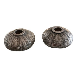Creel and Gow Italian Silver Sea Urchin Candle Holders - a Pair For Sale