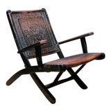 Image of 1990s Leather and Wood Folding Chair in Aztec Motif For Sale