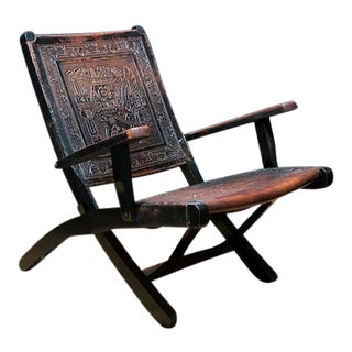 1990s Leather and Wood Folding Chair in Aztec Motif For Sale