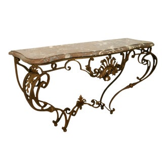 Gilt Wrought Iron Console Table For Sale