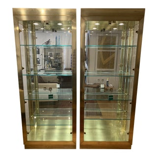 Vintage Brass and Glass Cabinets - a Pair For Sale