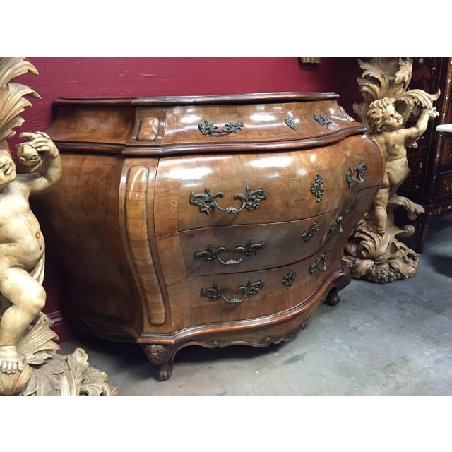 19th Century Italian Rococo Style Bombe Commode For Sale - Image 4 of 6
