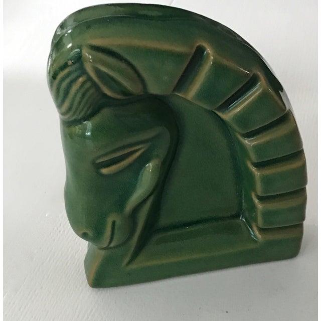 Art Deco Green Ceramic Glazed Horse Sculpture - Image 3 of 5