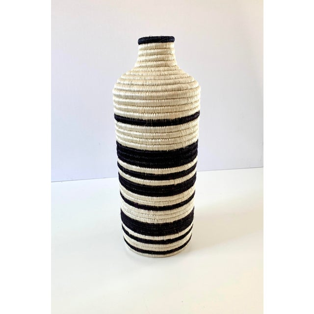 Textile Black and White Striped Woven Vase For Sale - Image 7 of 7