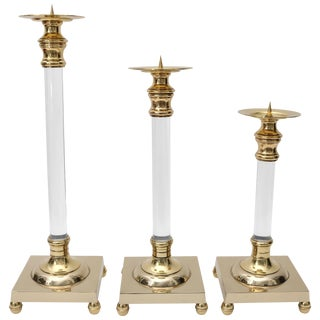 Polished Brass and Lucite Candlesticks - Set of 3 For Sale
