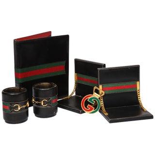Rare Vintage Gucci 8 Piece Executive Italian Leather Desk Set Accessories, 1979 For Sale