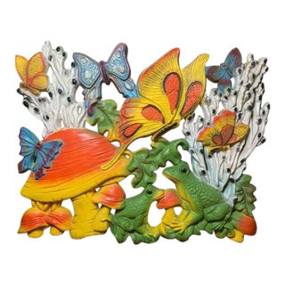 1970 Butterflies, Frogs and Flowers Wall Decor For Sale
